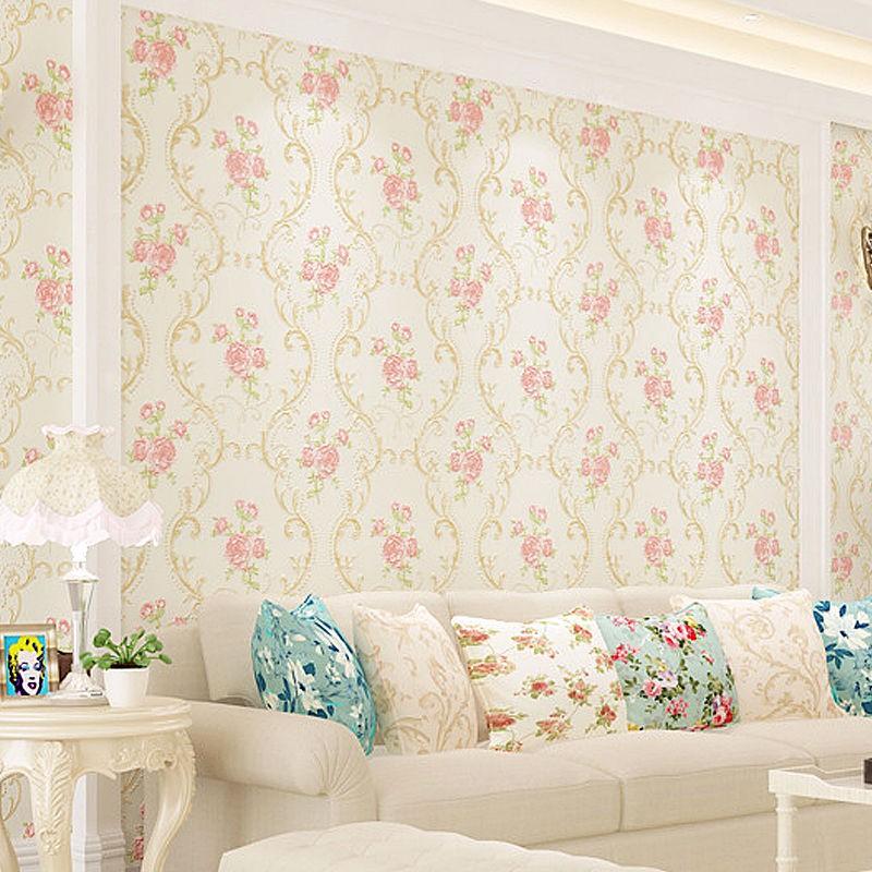 4d Thickened Brush Glue Nonwoven Wallpaper Pastoral European Living Room Bedroom Warm Romantic Wedding Tv Wall Shopee Malaysia