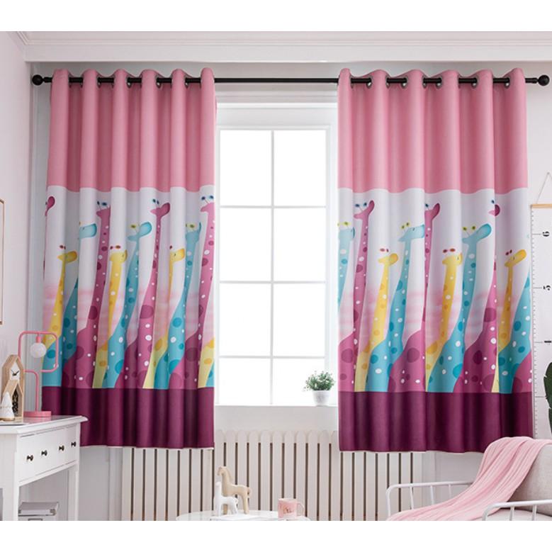 Curtains For Bedroom Children Boys Girls Kids Room Giraffe Cute Cartoon Custom Shading Windows Curtain Cloth Pink Shopee Malaysia