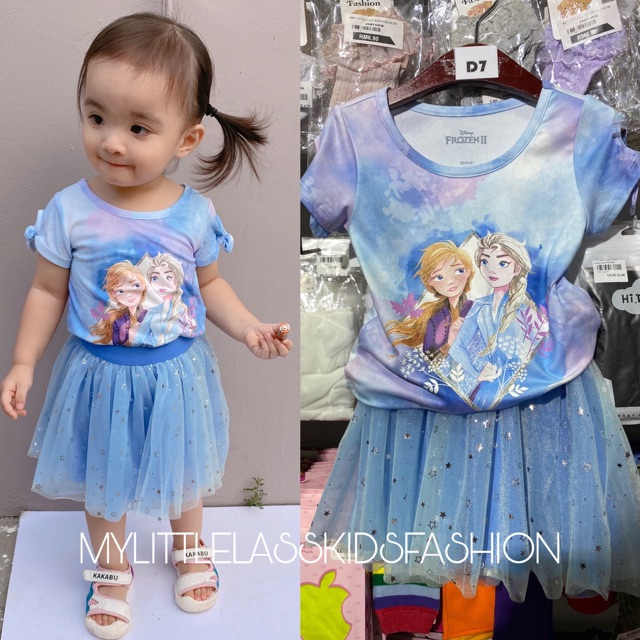 Pretty Frozen Elsa Anna 2pcs Girl Set Good Fabric Ready stock in Malaysia Toys for girls 2-7y