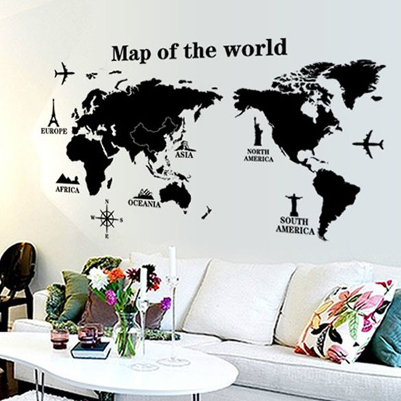 Map of the world removable pvc decal wall sticker home decor art hot map of the world removable pvc decal wall sticker home decor art hot shopee malaysia gumiabroncs Image collections