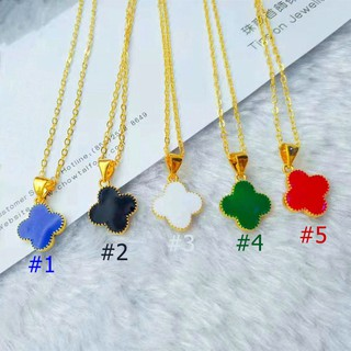 59bc9afe586bf Double-sided four-leaf clover Korean lucky pendant necklace | Shopee ...