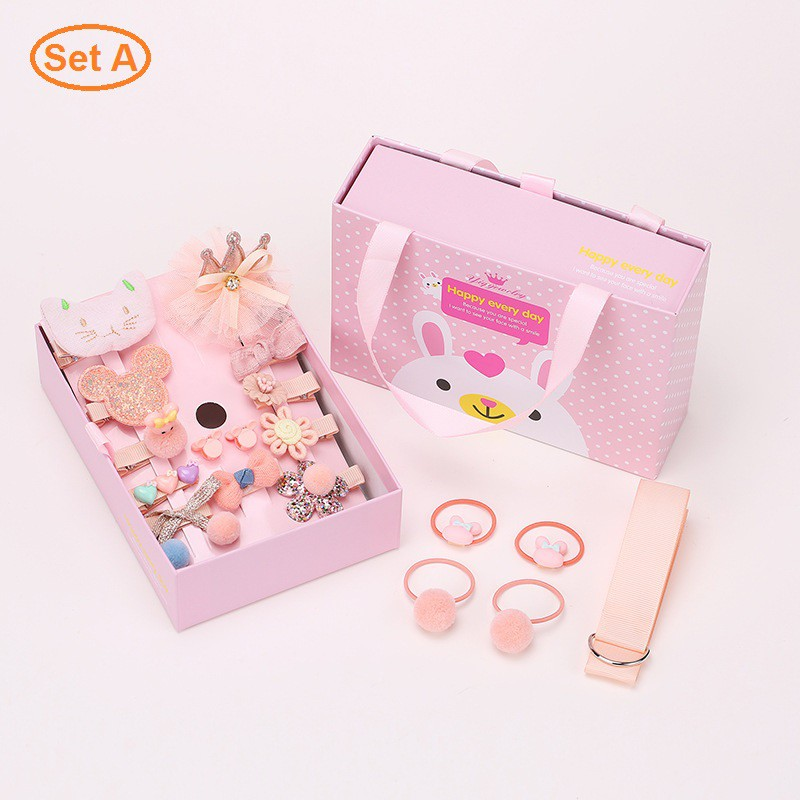 *SHIP 1DAY from MALAYSIA* Girls Toddle Hair Accesorries Set with Storage Gift Box