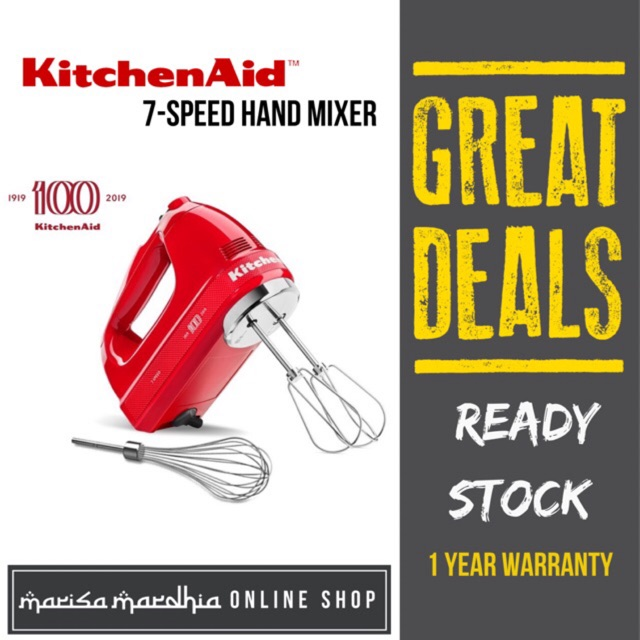 Kitchenaid 100 Years Anniversary Limited Edition Queen Of Hearts 7 Speed Hand Mixer 5khm7210hbsd Shopee Malaysia