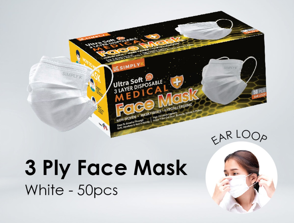[Medical][White]  Simply K Ear Loop 3 Ply MDA Approved Face Mask with Above 99% BPE and 98% PFE+ Strong Loop