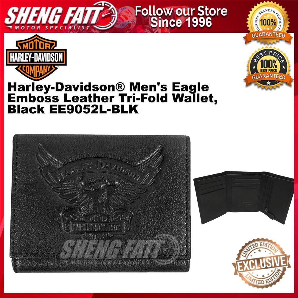 Harley-Davidson® Men's Eagle Emboss Leather Tri-Fold Wallet, Black EE9052L-BLK