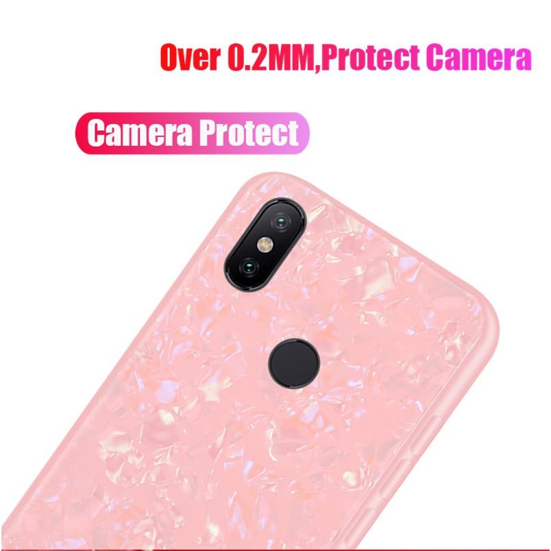 timeless design c5e91 2493c Case Xiaomi Mi A2 Lite Mi A1 Mi A2 Casing Tempered Glass Marble Hard Back  Cover