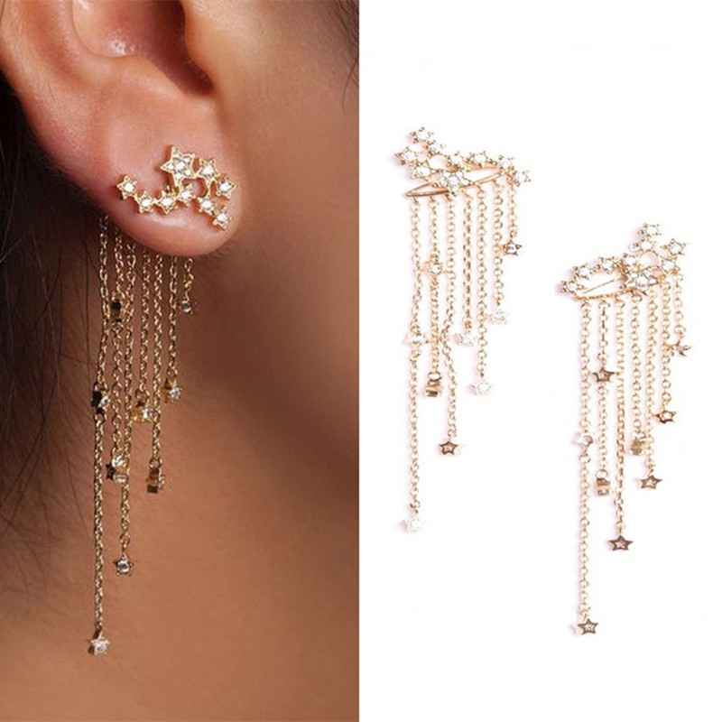 UK Shooting Crystal Bling Star Rhinestone Long Tassels Drop Hook Dangle Earrings