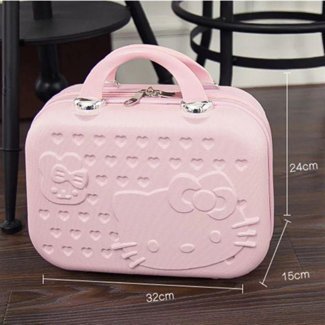 [ READY STOCK ]  Cute Cartoon 14 Inch Abs Cosmetic Bag Hello Kitty Cat Handbag Beautiful Cosmetic Box Makeup Travel Beg