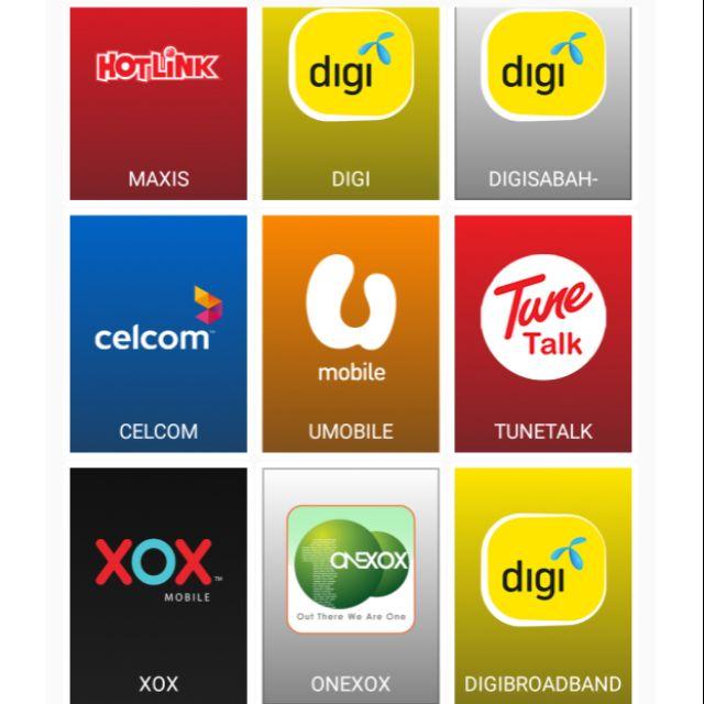 Topup Reload Maxis, Digi, Celcom, Umobile, XOX, Tune Talk