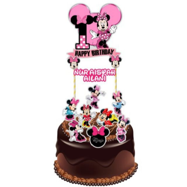 Peachy Minnie Mouse Cake Topper Shopee Malaysia Funny Birthday Cards Online Elaedamsfinfo