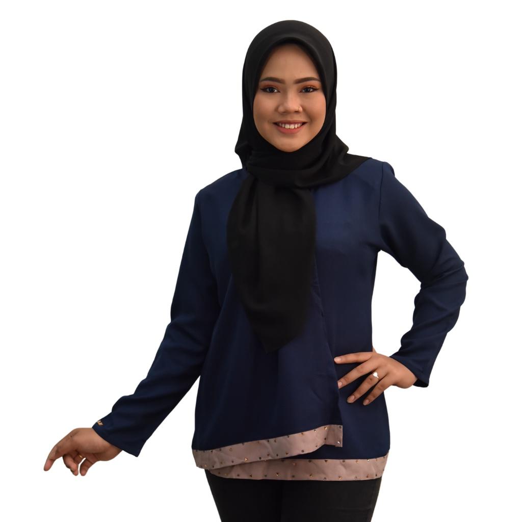 READYSTOCK SYAFEEQA blouse Fashion Design Muslimah Premium Como Crepe Long Sleeves Plain Blouse Lengan Panjang Ironless