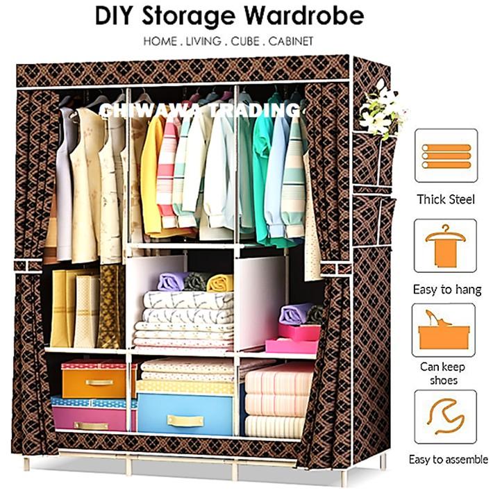 DIY Wardrobe Clothes Storage Rack Dust Cover Shoe Cloth Closet Cube Cabinet Organizer Shelf / Rak Baju Almari Kabinet