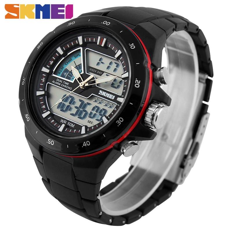 Watches Original Skmei Men Solar Dual Watches Fashion Digital Sport Watch Chronograph Alarm Waterproof Quartz Wristwatches Relogio Masculino 1064