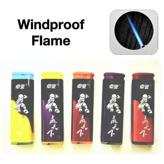 ZHUO YELighter Mixed Colour Design Wind Proof Jet Flame Refillable Gas Lighter 1pcs