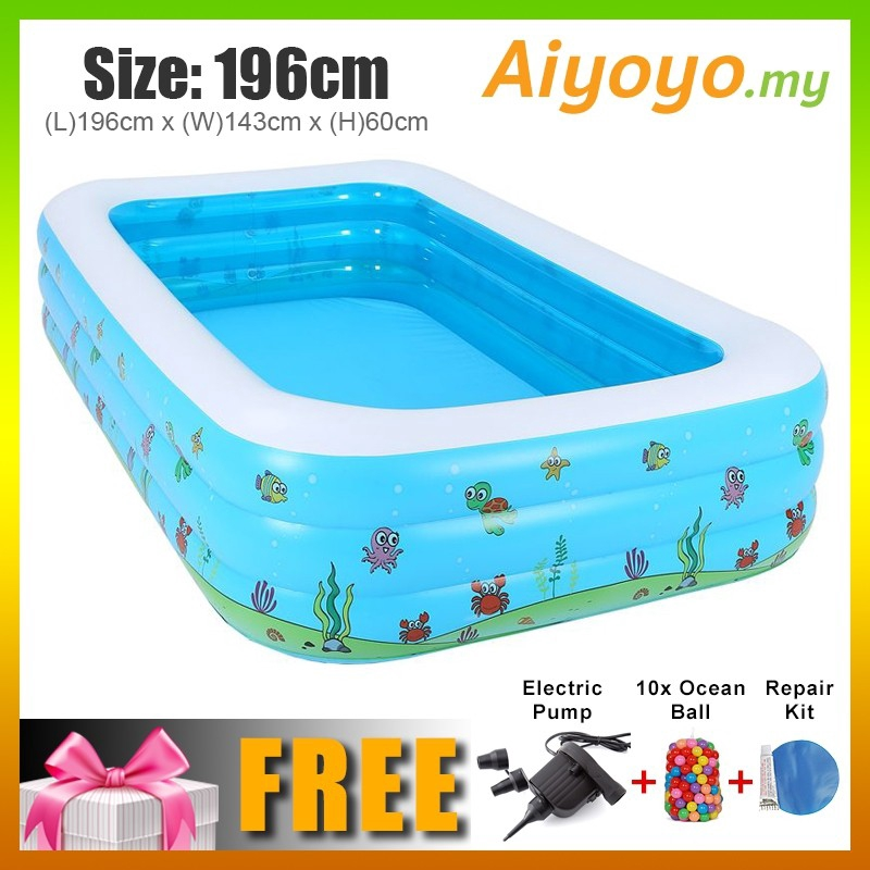 (L) 196 x (W) 143 x (H) 60cm Inflatable 3 Rings Swimming Pool Family Children Kids Kid Baby Home Toy Game Bath Basin Sho