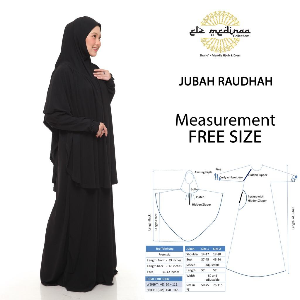 [ready stock] Jubah Tudung Labuh Raudhah Telekung Solat ELZ Medinaa Umrah Haji Tawaf jubah basic breastfeeding