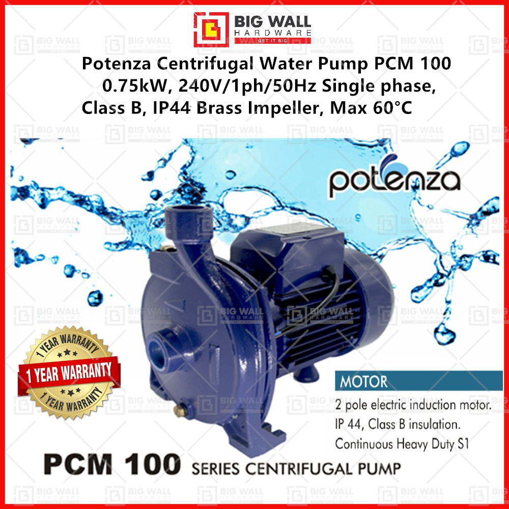 """Potenza Centrifugal Water Pump PCM 100 0.75kW, 240V/1ph/50Hz Single phase, Class B, IP44 Inlet/Outlet: 1""""x1"""""""