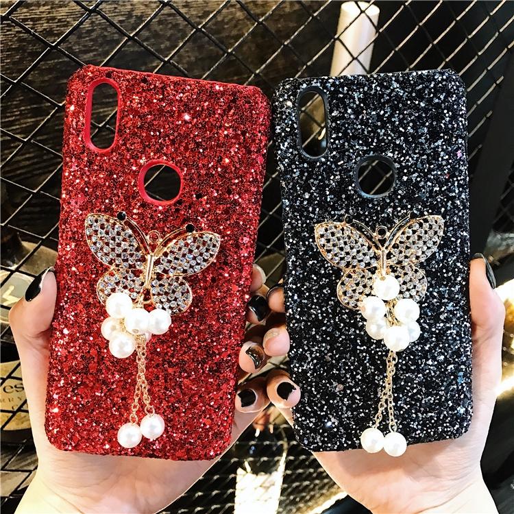 Millet Redmi Note 5 Pro Scrub Rhinestone Butterfly Flash Phone Case