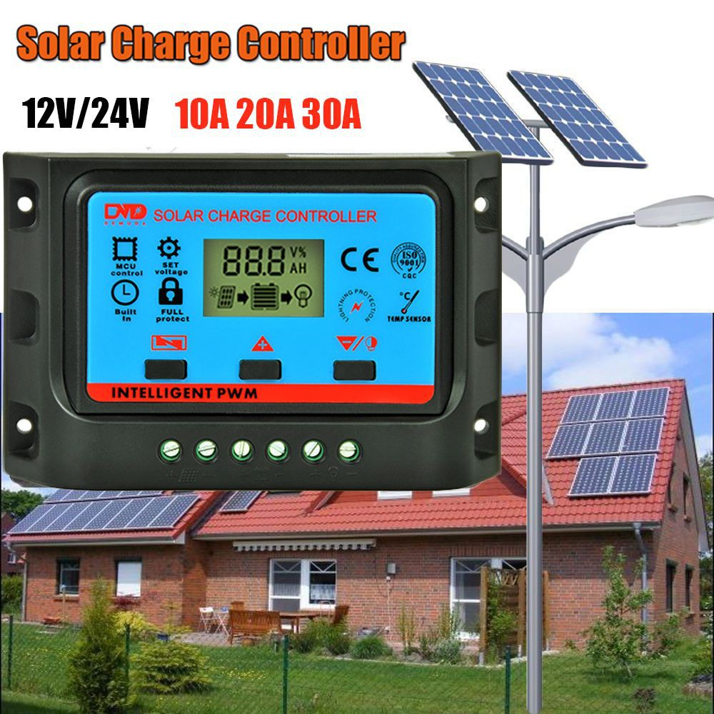 12v 24v Auto Lcd Display Pwm Solar Panel Charge Controller Battery Waterproof Led Street Light Circuit Regulator Usb Shopee Malaysia
