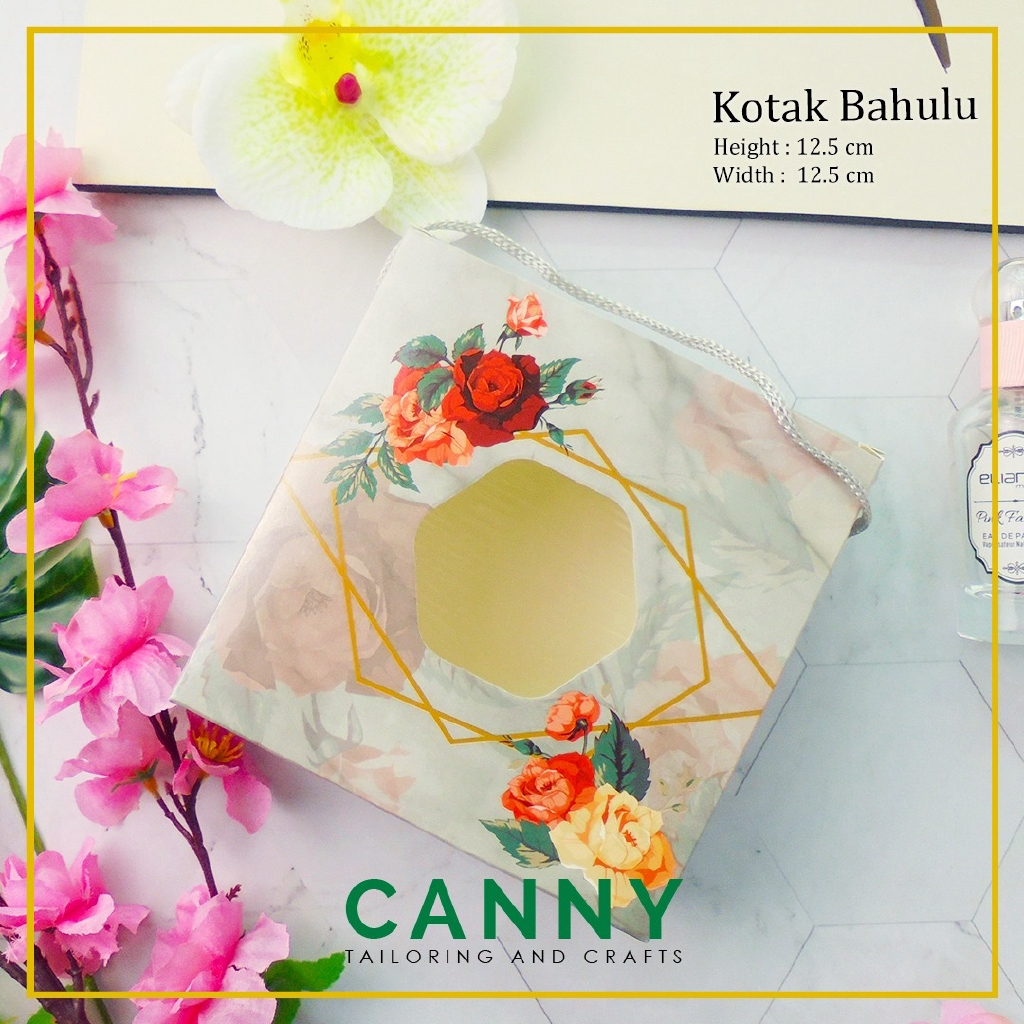 10pcs Kotak Bahulu Towel Sejadah Bertali Corak Rose / 10pcs Gift Box with Handle Rose Design