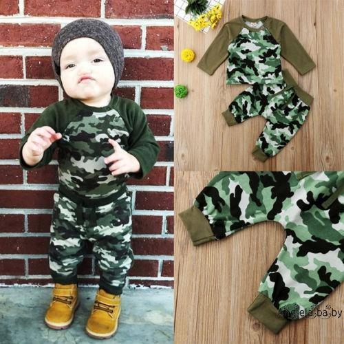 86199e2f ProductImage. ProductImage. HEA-Casual Newborn Baby Boys Girls Camo Tops T-shirt  Pants 2Pcs Outfits Set