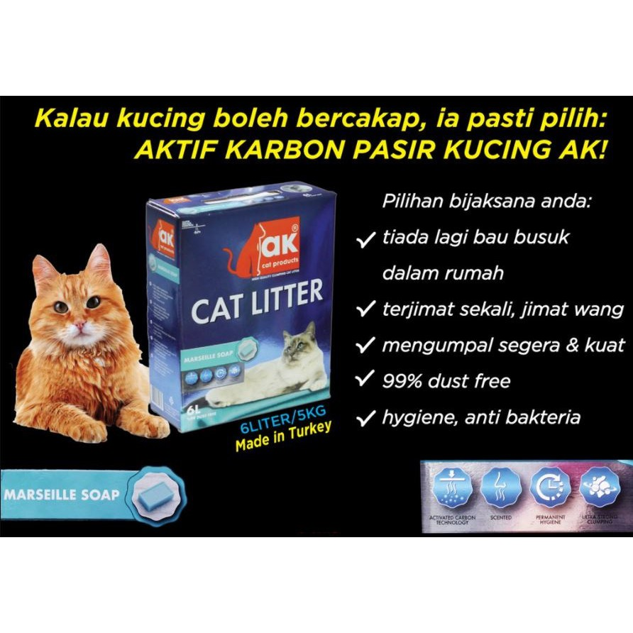 AK Super Premium Cat Litter from Turkey (5kg Box)- Extra Active Carbon,Top Quality,Save Money,No Smell of Urine & Feces