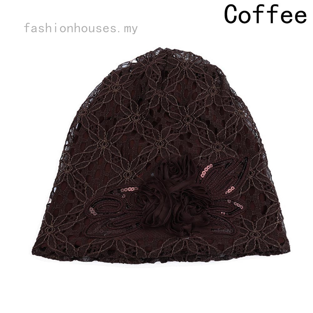 Fashion Female Casual Autumn And Winter Hollow Lace Double Flower Blossom Hat