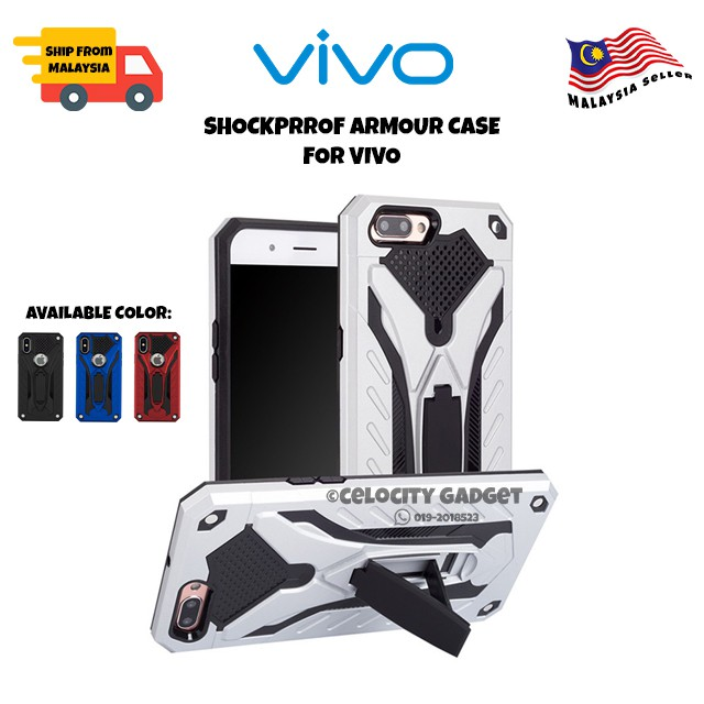 Vivo y91c/y91/y71/y69/y53/y19/y11/y12/y15/y17/y67/y66 Armor Hard Case With Stand
