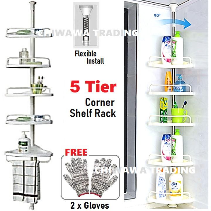5 Tier Standing Hanging Towel Shampoo Rack Bathroom Corner Drying Shelf Storage Organizer Hanger Hook Rak Penyidai baju