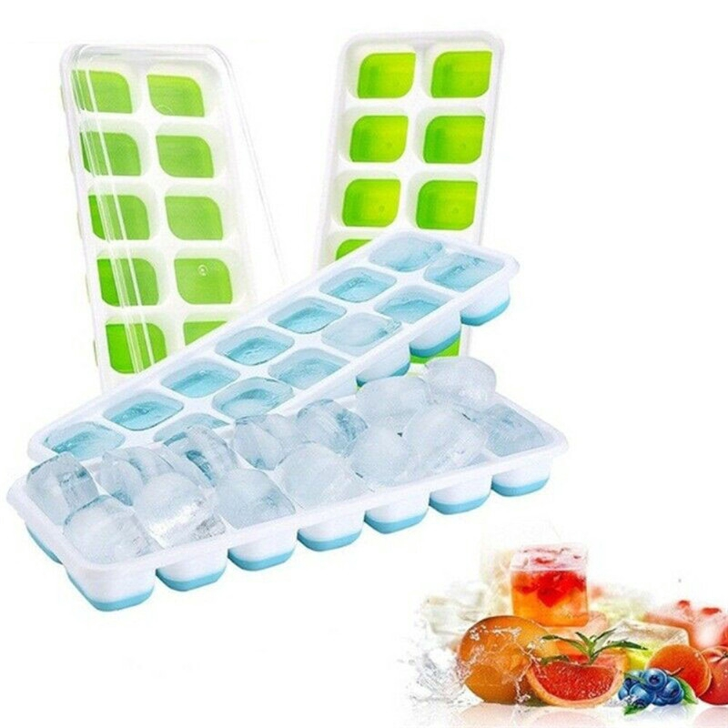 14 Compartment Ice Cube Tray Plastic Non Toxic Frozen Juice Milk Shaping Snack