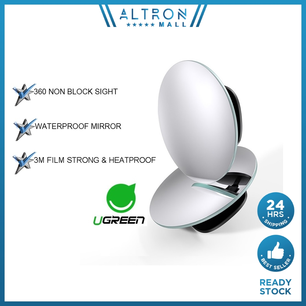 UGREEN Car Mirror 360°HD Blind Sport Mirrior Wide Angle Round Convex Rearview Mirrors Vehicle Parking Rimless Rear View