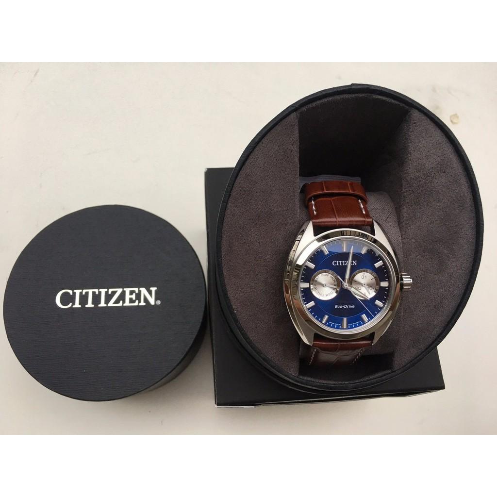 Jam Citizen Paradex Blue Dial Men Brown Leather Watch Fossil Fs5182 Set