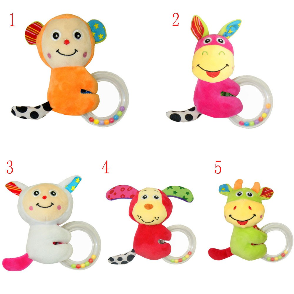 New Ring Bell Infant Cartoon Rattle Toy Elephant Deer Handbell Teether Silicone