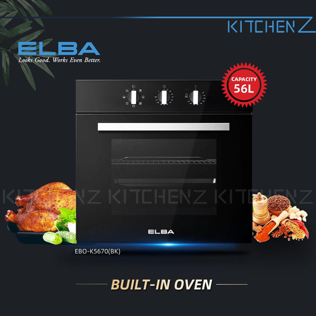 Elba Mechanical Control with Timer Built-in Oven EBO-K5670(BK) - 56L
