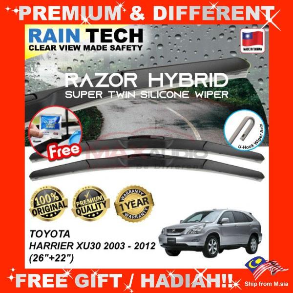 [FREE Gift] TOYOTA HARRIER XU30 2003 - 2012 (26/22) RAIN-TECH RAZOR HYBRID Silicone Aerodynamic Clean N Safety Wiper Blade