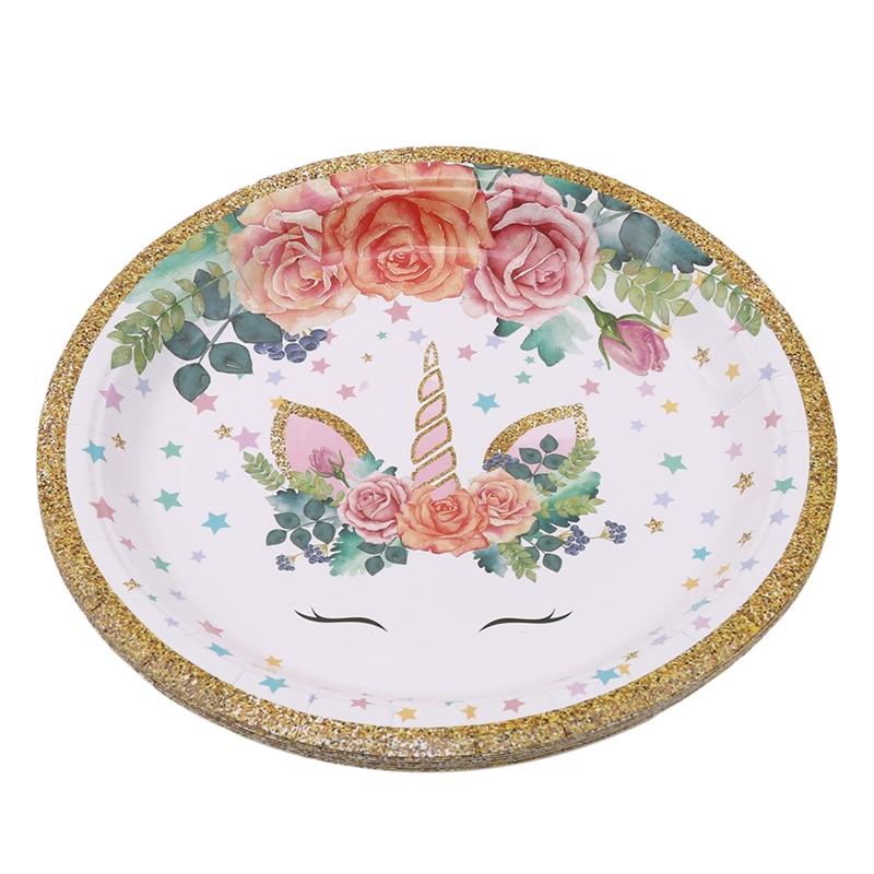 Strange Unicorn Party Birthday Cake Plates Dinner Plate Kitchen Dining Birthday Cards Printable Trancafe Filternl
