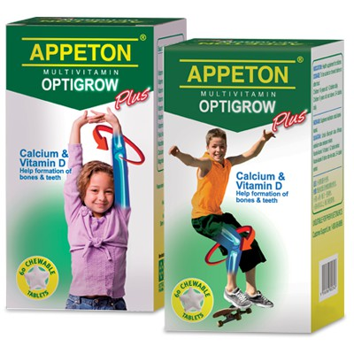 APPETON MULTIVITAMIN OPTIGROW PLUS 60's Calcium + Vitamin D (Exp: 03/2021)
