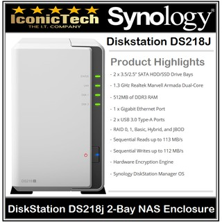 Synology DiskStation DS218J 2 Bay NAS - Support Up to 24TB