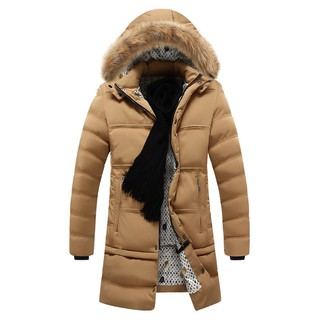 c7cdca60e Men Winter Hooded Down Jacket Fur Collar Coats Cotton Padded Clothes ...