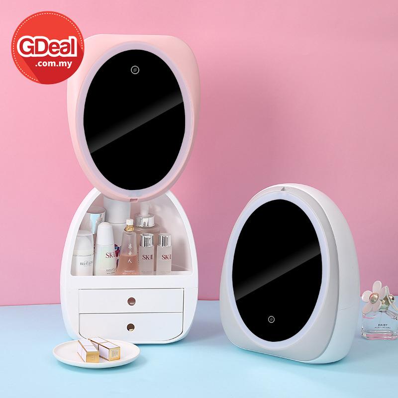 GDeal Cosmetic Storage Box Dustproof Skincare Organizer With LED Mirror Kotak Alat Mekap كوتق الت ميكاڤ