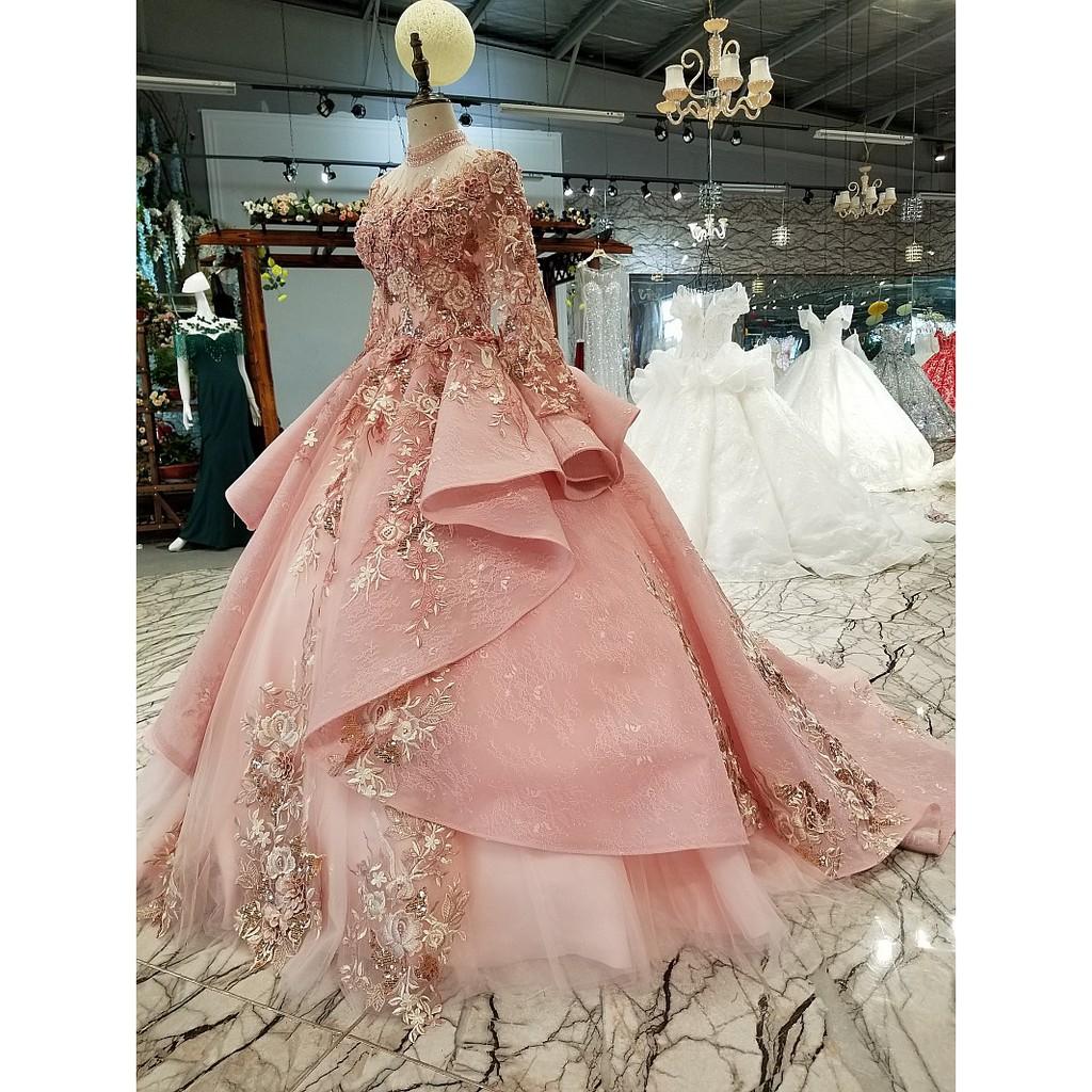 BEAUNIQUE Pink Long Sleeve Baju Pengantin Lenggang Panjang Premium Wedding  Gown Peplum Bridal Dress Empire Palace Theme