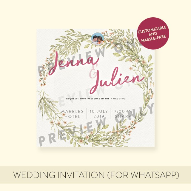 Wedding Invitation Card Foliage 2 Digital File For Whatsapp Fb Instagram