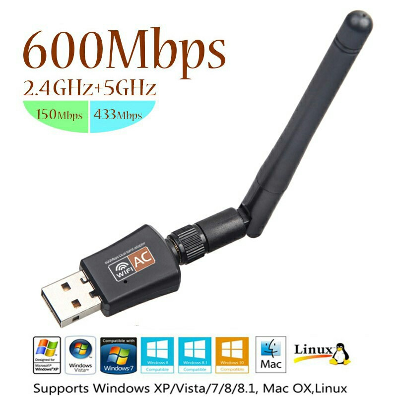 2.4GHz + 5GHz Dual Band USB Adapter 600Mbps Wifi Antenna Dongle LAN Adapter