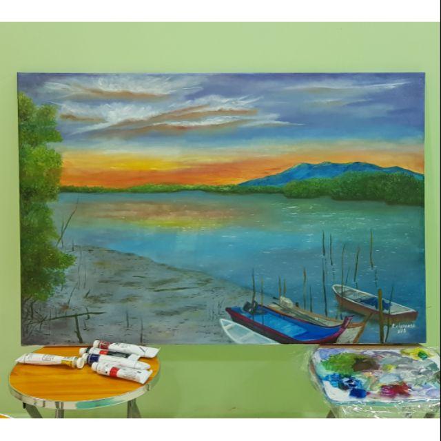 Lukisan Pemandangan Laut Waktu Senja Shopee Malaysia