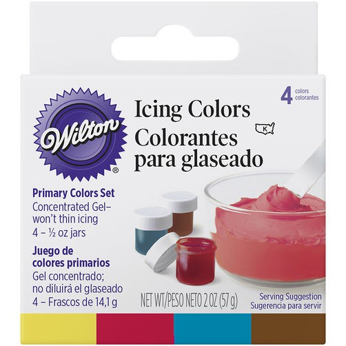 Wilton Color Set - Primary, Lemon Yellow/Christmas Red/Sky Blue/ Brown  (0.5oz Set/4)