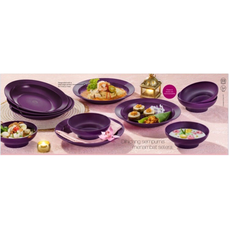💥Ready Stock!💥Tupperware Purple Royale Deep Plate 550ml /Bowl 600ml