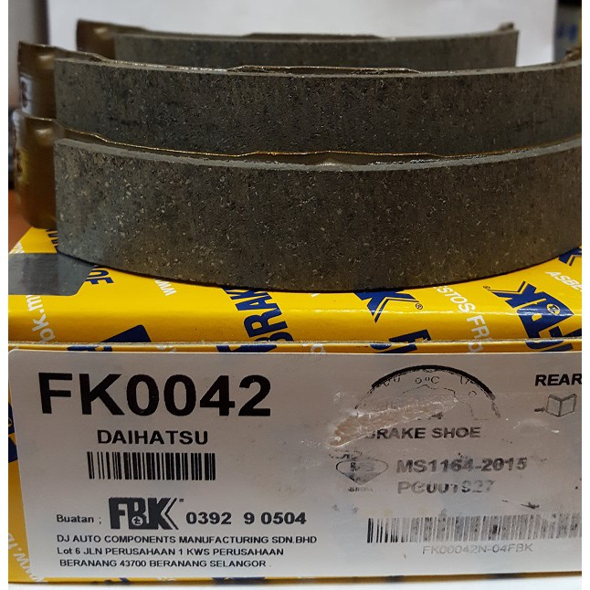 FBK Brake Shoe Rear (FK0042) for Perodua Myvi 1.0/1.3