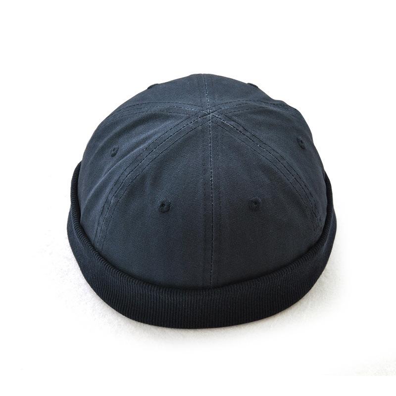 1 x Retro Men Hat Skullcap Docker Rolled Cuff Brimless Adjustable Cap Army Green