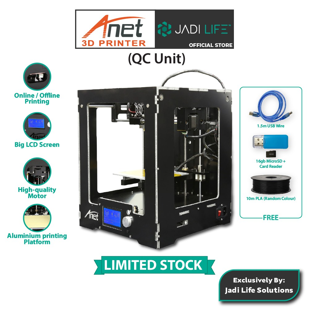 (QC Unit) Anet A3 3D Printer Metal Frame Structure LCD 12864 Screen Heat-bed 8G TF Card - JADILIFE