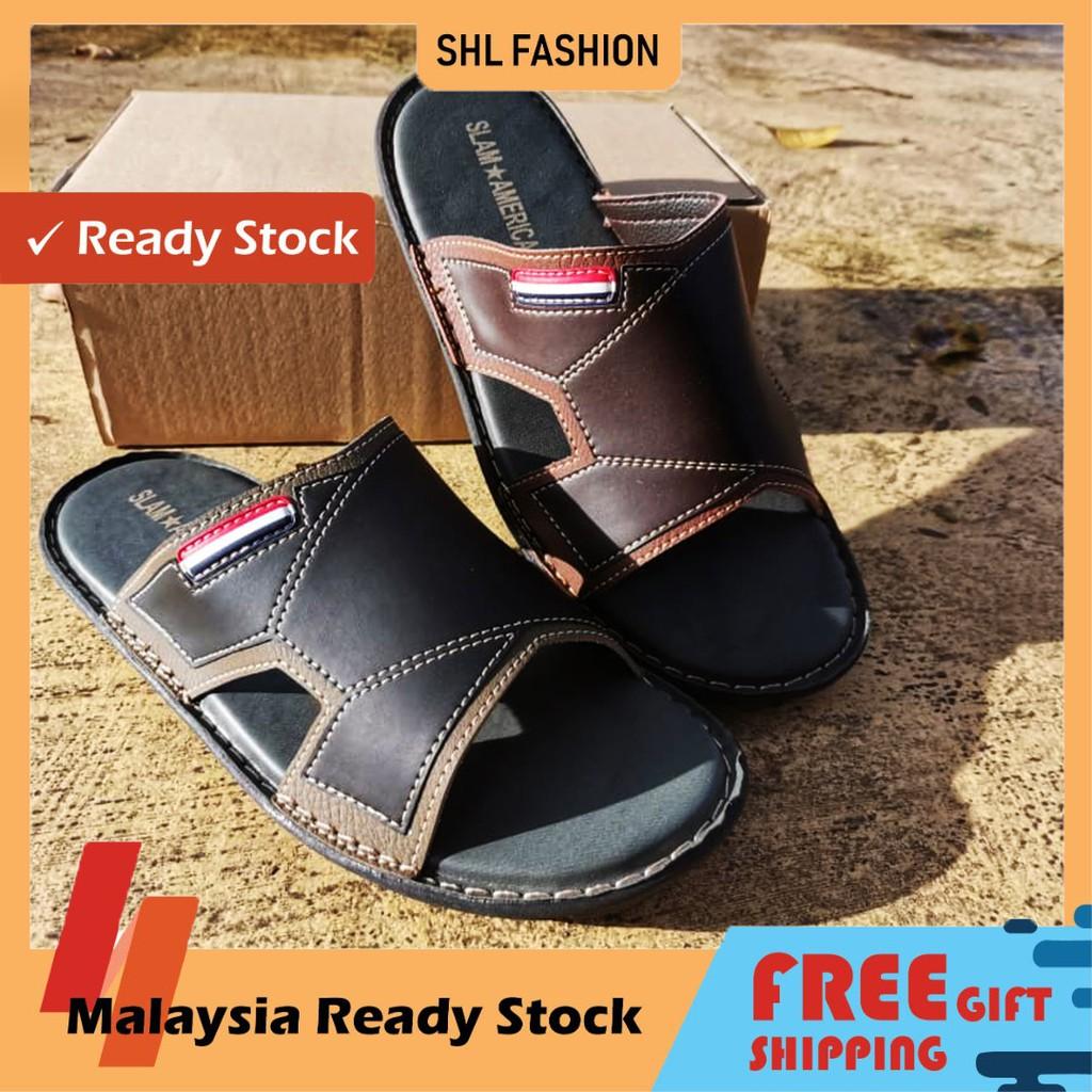 SHL Men PU Leather Sandal  Premium Selipar Kasut Lelaki size 39-44【男士拖鞋】-650